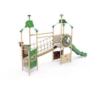 Kunststof speelcombinatie met een touwbrug, een glijbaan en verschillende speelpanelen.