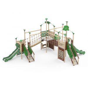 Kunststof speelcombinatie met glijbanen, bruggen en verschillende speelpanelen