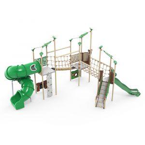 Kunststof speelcombinatie met twee touwbruggen, een draaiglijbaan, een normale glijbaan en verschill