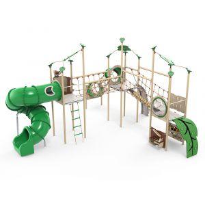 Kunststof speelcombinatie met meerdere touwparcoursen, een glijbaan en verschillende speelpanelen.