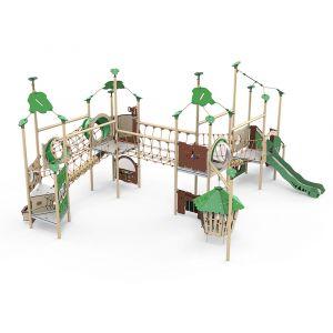 Kunststof speelcombinatie bestaande uit drie speeltorens met verschillende klimparcoursen, verschill