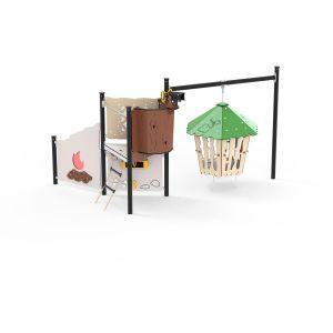 Kunststof speeleiland met een hangende hut