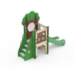 Kunststof glijbaan met kruiptunnel voor kleine kinderen