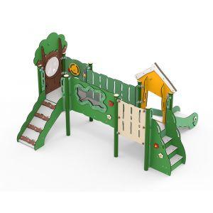 Kunststof speeltorens met een loopbrug en een glijbaan