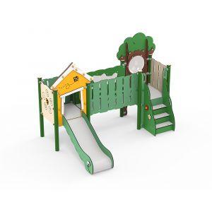 Kunststof speeltorens met loopbrug en een glijbaan