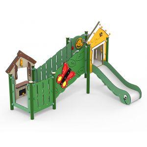 Kunststof speeltorens met een schuine loopbrug en een glijbaan
