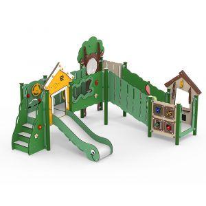 Kunststof speelcombinatie met een glijbaan, een speelwinkel en diverse speelpanelen