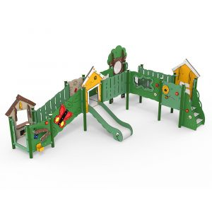 Kunststof speelcombinatie met diverse speelonderdelen waaronder een glijbaan en een speelwinkeltje