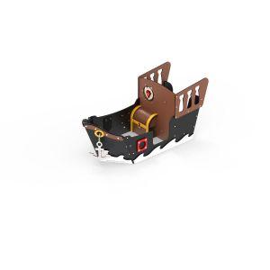 Kunststof mini piratenschip met diverse speelonderdelen