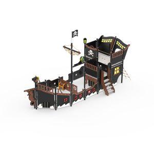 Grote kunststof piratenboot met een trap