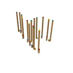 Steltenparcours van Robinia hout